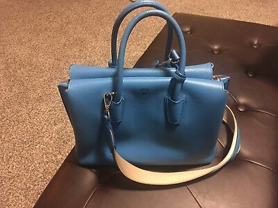 MCM MILLA TOTE in Grained Leather Medium Tile Blue
