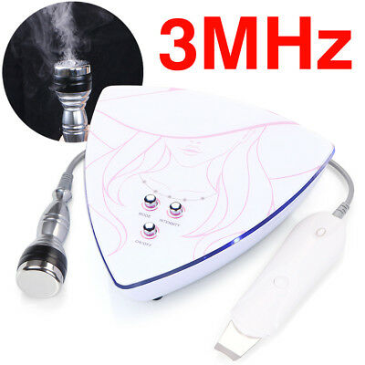 Portable 3MHZ Facial Ultrasonic Ultrasound Therapy Skin Scrubber Deep Cleaner