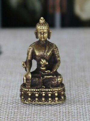 Chinese old antique pure brass Medicine Buddha small statue