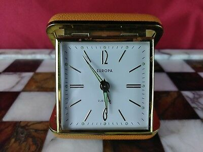 Vintage Europa 2 jewels Travel Alarm Clock Wind Up Folding Hard Case Glow Hands