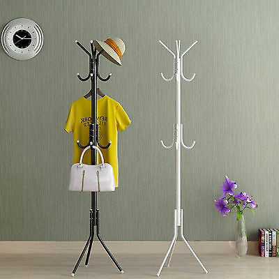 12 Hook Coat Hanger Stand 3-Tier Hat Clothes Rack Metal Tree Style Storage AU