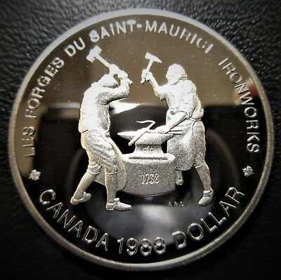 1988 Canada $1 Dollar Silver Proof  Saint Maurice Iron Works Anniversary