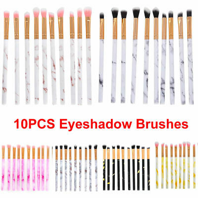 10pcs Marble Eyeshadow Concealer Eyeliner Blending Eyebrow Eye Lip Make up Brush