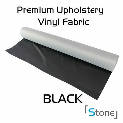 "54""W Upholstery Marine Vinyl Fabric Seat Cover Fauxl Leatherette Decor (Black)"
