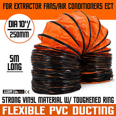 "16'Lx10"" Air Duct Ventilation Hose PVC Coated Flexible Polyester Pipe"