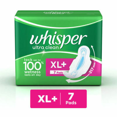 Whisper Ultra Clean Sanitary 7 Pads XL + Stay Fresh Always Free Shipping