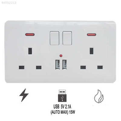 220C Double Wall UK Plug Socket 2 Gang 13A with 2 USB Charger Port Outlet Plate