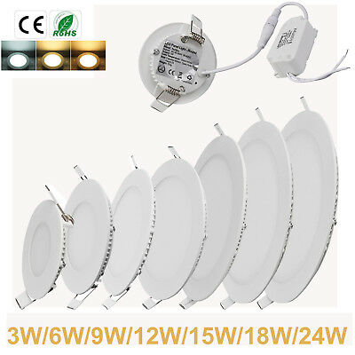 Led Recessed Lighting Panel Ceiling Down Light 3/6/9/12/15/18/24W Round Lights