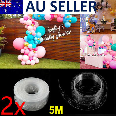 2x 5M Balloon Decorating Strip Connect Chain String Arch DIY Tape Party Brithday