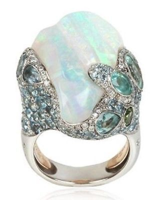 Vintage White Fire Opal Wedding Engagement Propose Silver Jewelry Ring Size 6-10
