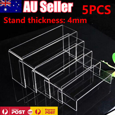 5x Sturdy Shoe Jewellery Display Riser Clear Acrylic Stand Holder Rack Organiser