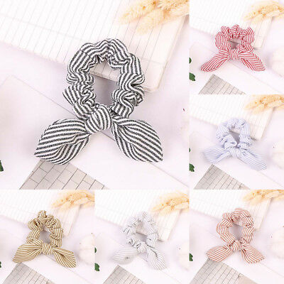 Fabric Bow knot Scrunchies Bunny Ears Hair Ring Stretch Hair tie Ponytail Holder