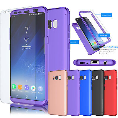 For Samsung Galaxy S8 Plus/ S8 / J4 / J8 Case, Hybrid Tempered Glass Hard Cover