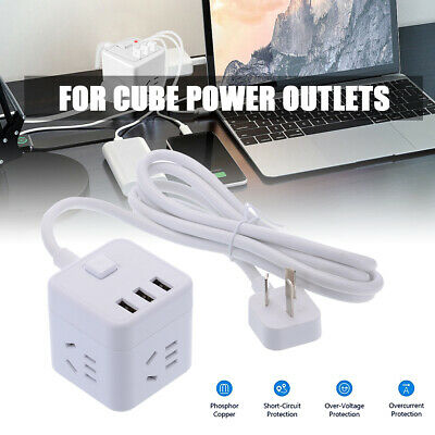 AU Cube Power Board Strip 3 USB+4 Socket Extension Cord Charger Charging