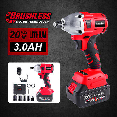"Frantikon 2IN1 20V Brushless Cordless Impact Wrench Driver 1/2"" 3.0Ah Li Battery"