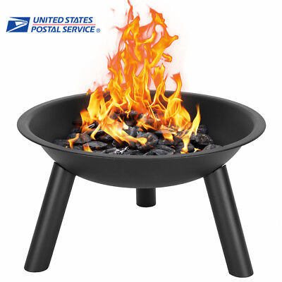 Black Portable Cast Iron Fire Pit Bowl Camping outdoor Activities 22'' Houseware