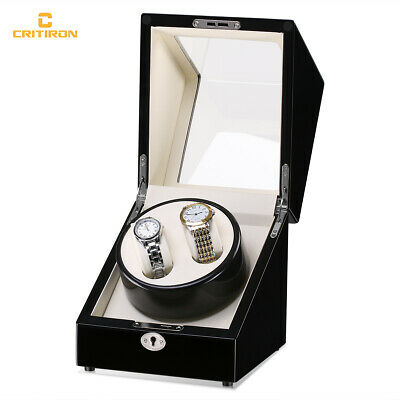 Black 2+0 Leather Watch Winder Storage Display Case Box Automatic Rotation Gift