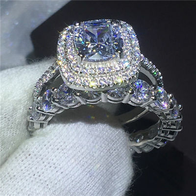 Certified 4Ct Cushion-Cut Diamond Engagement Wedding Ring Solid 14K White Gold