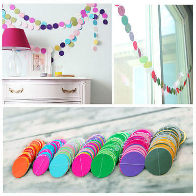 Paper Garland Strings Circle Wedding Party Baby Shower Hanging Decoration 2M Pop