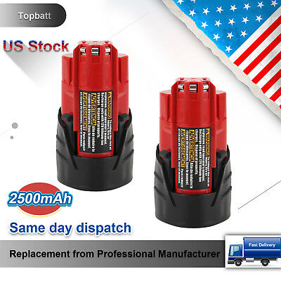 2 Packs 2500mAh Lithium-Ion Replace for Milwaukee M12 12V Battery 48-11-2401 Red