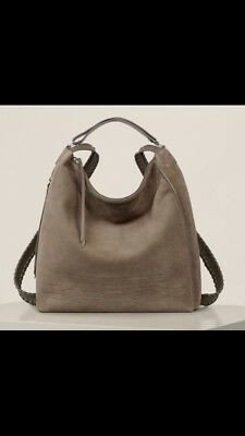 ALL SAINTS Women's Large Ash Grey Cooper Leather Backpack Bag RRP £328