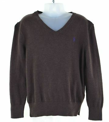 POLO RALPH LAUREN Boys V-Neck Jumper Sweater 6-7 Years Brown Cotton  DP11