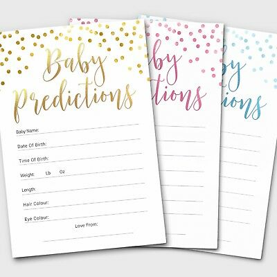 10 x Baby Shower Games Prediction Cards Pack ~ Boy / Girl / Unisex (G28)