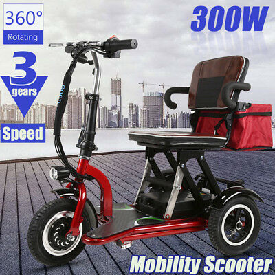 New 300W 20KM/H Foldable Electric Bicycle 3 Speed 360° Rotating Mobility Scooter
