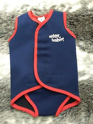 Water Babies Neoprene Baby  Wrap Navy Blue With Red Trim Size 18-30 Months