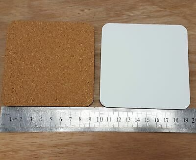 Premium Quality Blank Sublimation Coasters For Heat Presses - Square - Cork Back
