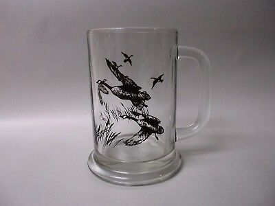 Heavy Clear Glass Flying Geese Beer Mug by Avon 1982