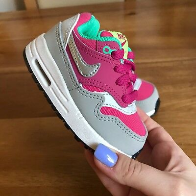 NIKE AIR MAX 90 Baby Girl Trainers Shoes Pink Grey Green