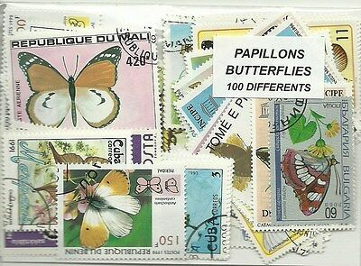 """Lot timbres thematique """" Papillons"""""""