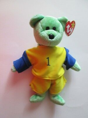 KICKS Soccer Bear Ty Beanie Babies Baby - with outfit - MWMT P.E. Pellets