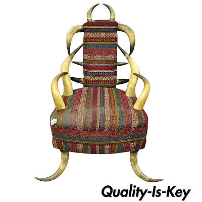 Early 20th Century Antique Upholstered Steer Horn Parlor Chair