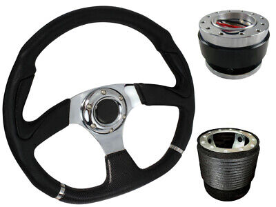 D1 CHROME D-SHAPED Quick Release Steering Wheel + Boss Kit fits MAZDA 025