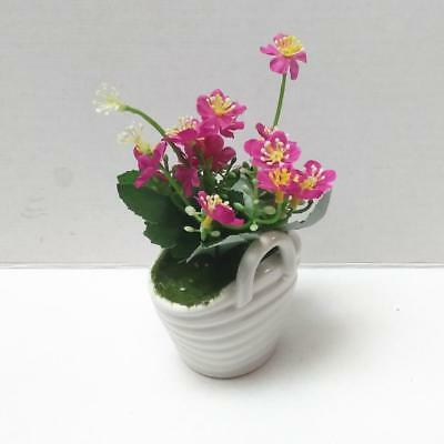 Artificial Silk Flowers Bonsai Arrangements with Ceramics Pot Decors Pink