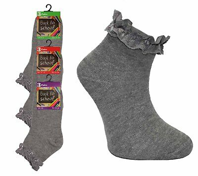 12 Pairs Girls Grey Short Ankle Frilly Laced Cotton Dance School Socks Size 12-3