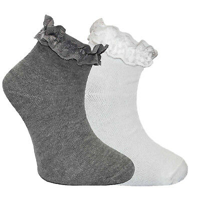 3 Pair Size 4-6 White Grey Frilly Ankle Lace Top Bobby Socks Cotton Anklet Dance