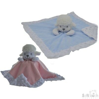 Personalised Baby Soft LAMB Comforter Taggy taggie tag Blanket Girl Gift