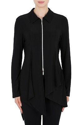 Joseph Ribkoff Black//Silver Zip-Front Bell Sleeve Cropped Jacket 183522 NEW