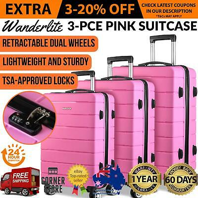 3x Pink Hard Shell Suitcase Luggage Suit Case Bag Trolley Travel TSA Lock Light
