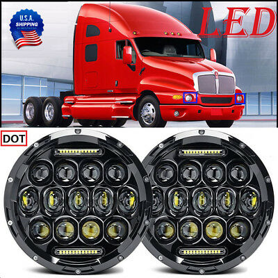 2x 75W 7inch Round Black Led Headlight Hi-Lo Beam For Freightliner Century Class
