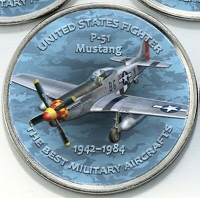 Zimbabwe 1 shilling 2017 WWII P-51 Mustang Fighter Aircraft 1942-1984 Airplane