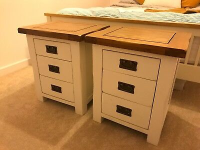 Off White Country Shabby Chic Oak Furniture Land 3 Drawer Bedside
