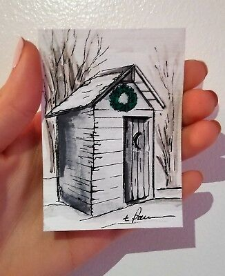Original Watercolor/ ACEO outhouse/Snow barn art/Barn painting