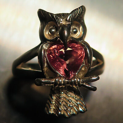 Natural Colour change malaya Garnet Spessartine Pyrope 925 silver owl ring