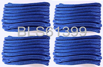 """Set of (4) Blue Double Braided 1/2"""" in x 15' ft HD Boat Marine Dock Line Ropes"""