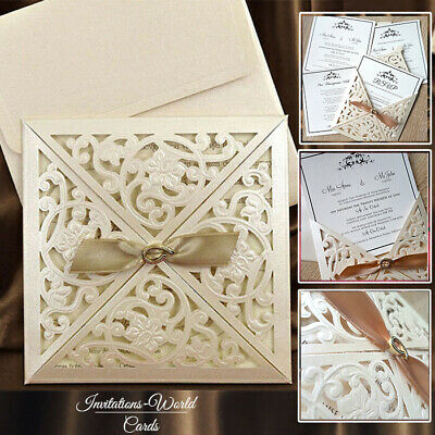 50 DIY or Personalised Wedding Invitations Laces Laser Cut Free PP FREE ENVELOPE