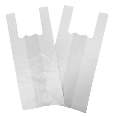 "100 X JUMBO Strong Large WHITE Vest Carrier Bags 18Micron 13""x19""x23"""
